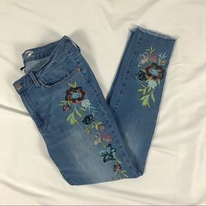 7 For All Mankind Mid Rise Skinny Embroidered 12